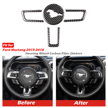 Mustang Real Carbon Fiber Steering Wheel Emblem for Ford Mustang Car Stickers Car Styling 2015 2018 Mustang Stickers Accessories