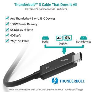 Image 2 - Choetech Thunderbolt 3 kablo 2M 6.5f 40Gbps 100W 5A/20V destek 5K UHD veya 4K 60HZ ekran USB tipi C HDMI kablosu Macbook Pro