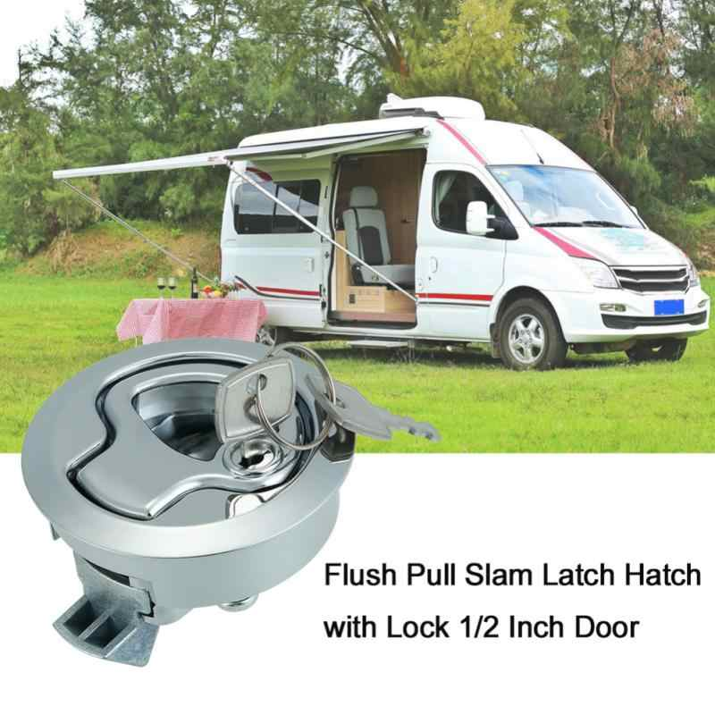 Stainless Steel Flush Mount Menetas Flush Pull Latch Laut Lock dengan Kunci Lift Slam Latch Hardware untuk RV Perahu Yacht dek Hatch