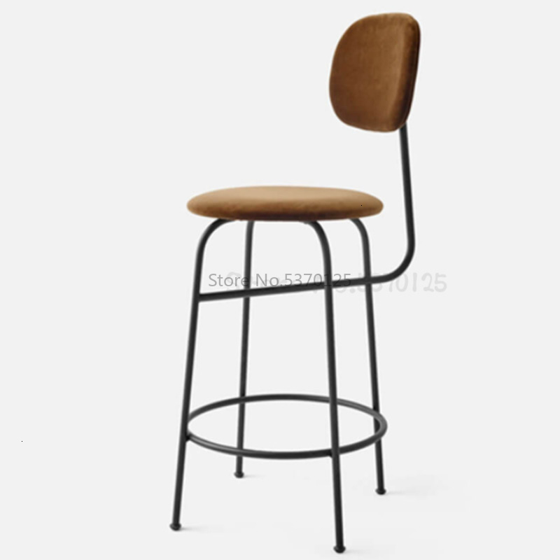 Nordic Bar Chair Fabric Light Luxury Postmodern High Stool Wrought Iron Bar Stool Cafe Lounge Bar Simple Backrest