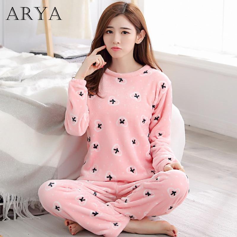 Arya Flannel Women Pajamas Sets Winter Pajamas Cute Cartoon Thick Warm Women Sleepwear Cute Female Coral Velvet Homewear 22