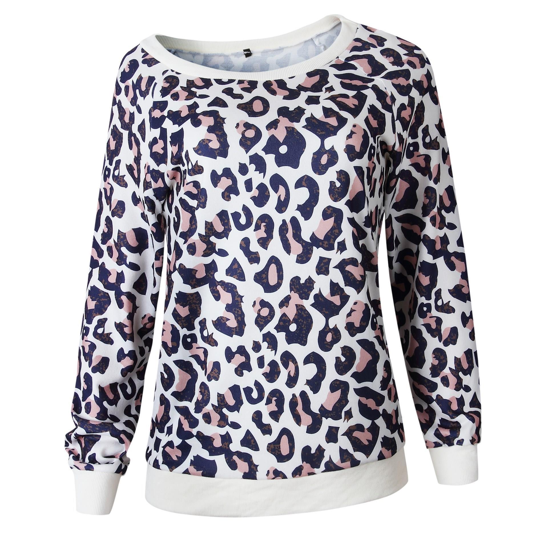 Bonita camiseta de leopardo con cuello redondo y estampado de cuello redondo para mujer Jersey Casual camiseta suelta - 6