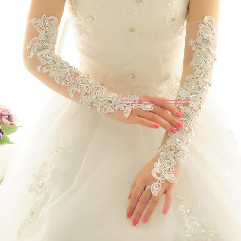 Guantes De Novia Long Opera Length Wedding Gloves For Bride Fingerless Crystal Ivory Lace Bridal Gloves Wedding Accessories 209