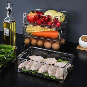 Lodówka pojemniki na organizery kuchnia wyczyść jedzenie świeże pudełko schowek do lodówki pojemniki spiżarnia organizacja pojemniki do przechowywania tanie i dobre opinie CN (pochodzenie) Nowoczesne PET+PE