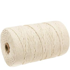 Durable 200m White Cotton Cord Natural Beige Twisted Cord Rope Craft Macrame String DIY Handmade Home Decorative supply 2/3mm