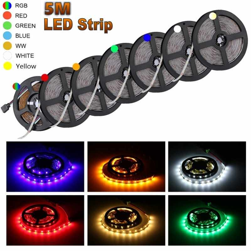Smd 2835 DC12V Rgb Rood Geel Blauw Led Strip Licht 1M 2M 3M 4M 5M geen Waterdichte Led Verlichting Rgb Leds Tape Flexibele Diode Lint