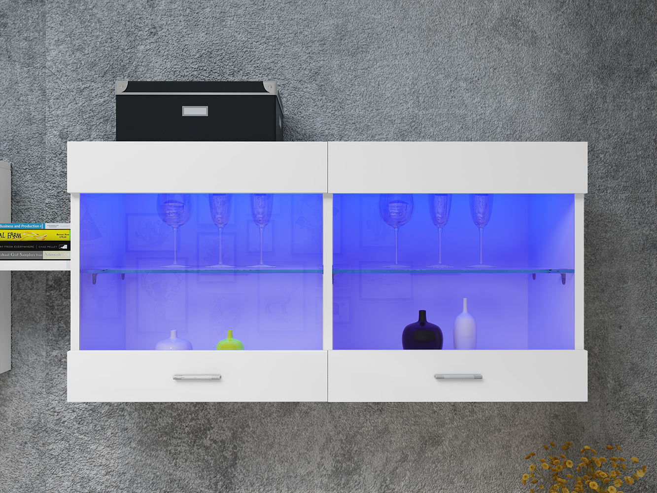 Panana LED Wall Display Cabinet Unit Glass Shelves Cupboard Storage Living Room TV Stand Head Wall-mounted Canbinet