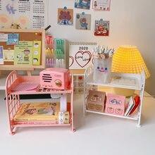 Estante de almacenamiento de 2 capas para brochas cosméticas, organizador Simple de escritorio, papelería, bricolaje, plegable, hecho a mano