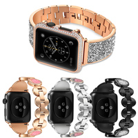 women Diamond Watch strap For apple watch band 38mm 42mm Stainless Steel Bracelet sport band for iwatch serie 4/3/2/1 44mm 40mm