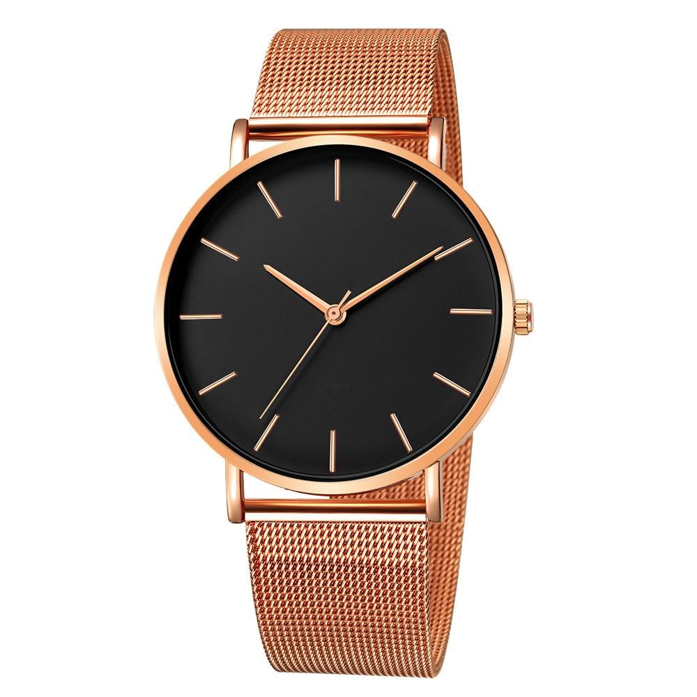 Hc3fb53dfe93b459b9a07a7150abc319fV Luxury Watch Men Mesh Ultra-thin Stainless Steel Quartz Wrist Watch Male Clock reloj hombre relogio masculino Free Shipping