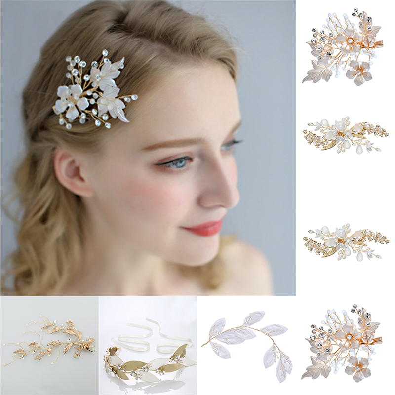 Leaf Bridal Hairpin Women's Jewelry Accessories Beauty Handmade Measly Bride Headwear Headcomb Charms Headdress Bride Headpieces