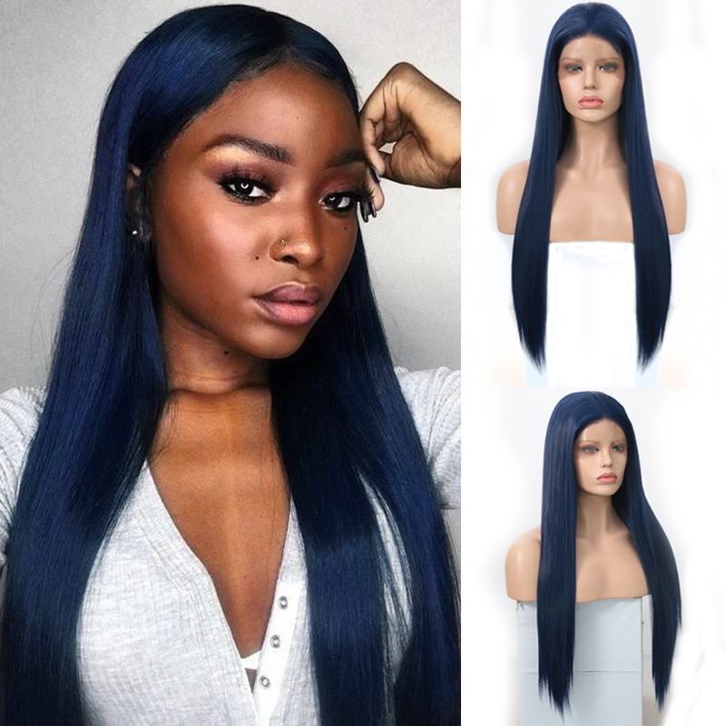 Charisma Dark Blue Wig Silky Straight Synthetic Lace Front Wig Heat Resistant Hair Glueless Lace Wigs For Black Women
