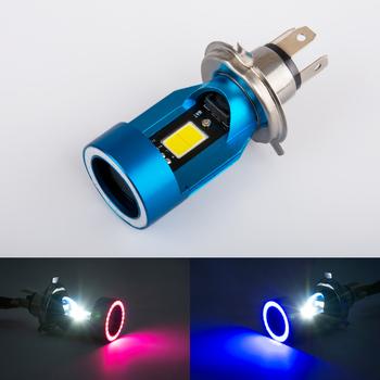 1pc H4 H6 ba20d HS1 Led żarówki do reflektorów motocyklowych LED lampa przednia do motocykla akcesoria do skuterów z oczami anioła tanie i dobre opinie Yeslight 6000 k 12 v 2600lm pink blue high beam 25W low beam 25W