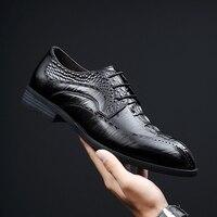 Men Leather Wedding Shoes Dress Oxfords lace up Loafersgenuine leather Business Shoes Designer Formal Black wedding Shoes a4