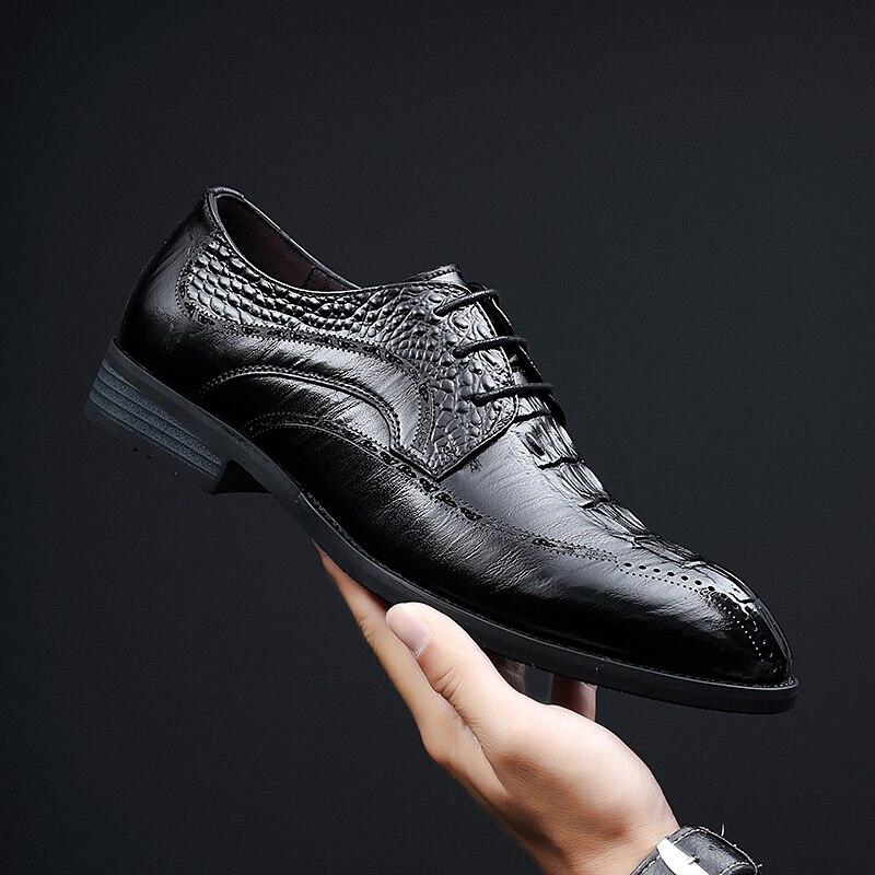Hommes en cuir chaussures de mariage robe Oxfords à lacets loafersvéritable cuir chaussures d'affaires Designer formelle noir chaussures de mariage a4