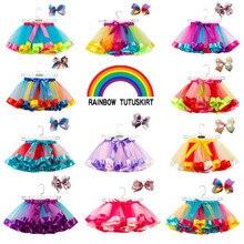 2 предмета, детская юбка-пачка для девочек вечерние юбки для танцев и балета с бантом, радужные фатиновые юбки бальная юбка для девочек, костюм