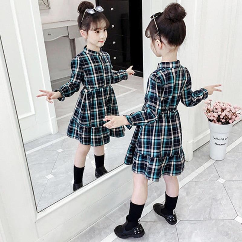 criancas vestido 2019 primavera outono xadrez meninas padrao bolso manga longa vestido para 3 10y roupas