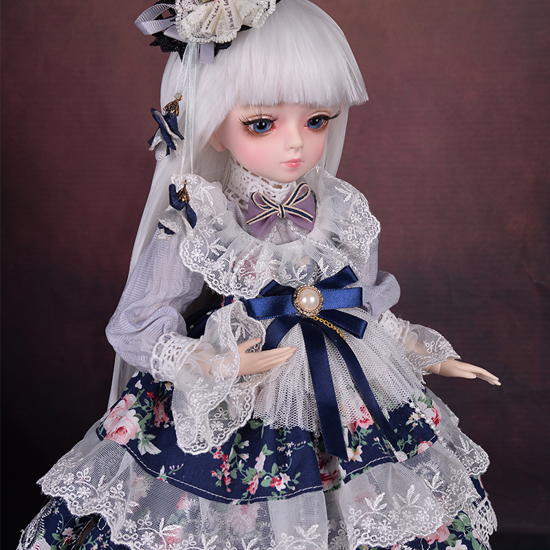 45CM BJD Doll 1/4 SD Dolls 18 Ball Joints With Full Outfits Princess Dress White Wig <font><b>Shoes</b></font> Changeable Eyes Girls Collection Toys image