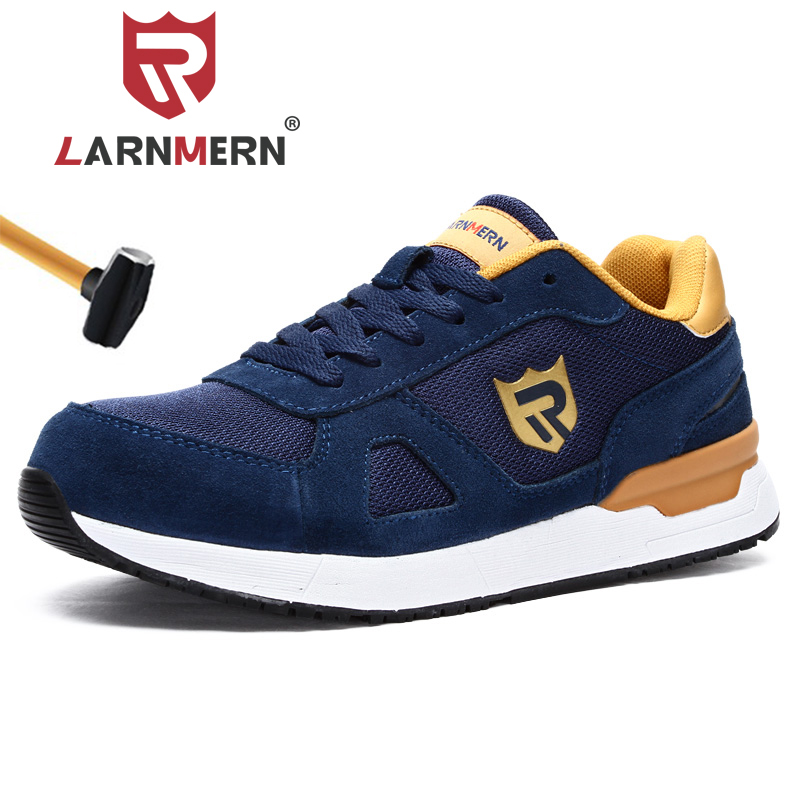 LARNMERN Work Safety Shoes For Men Women Steel Toe Lightweight Breathable SRC Non-Slip S1P Industrial Shoes Black Red Blue Grey