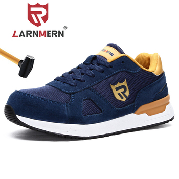LARNMERN Work Safety Shoes For Men Women Steel Toe Lightweight Breathable SRC Non-Slip S1 Industrial Shoes Black Red Blue Grey