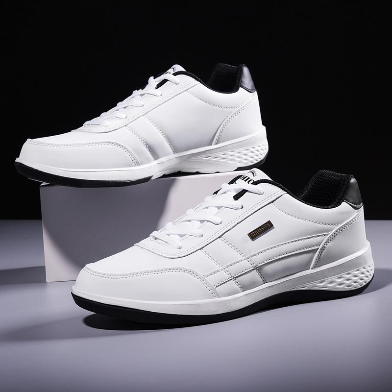 PU Leather Sports Shoes Men Sneakers For Running Shoes Sport Man Athletic Shoes Jogging White Trainers  Footwear Race Walk A-374