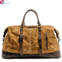 Canvas Men Travel Bags M Hand Luggage Bags Leather Travel Duffel Bags Shoulder Bags Large Capacity Weekend Overnight