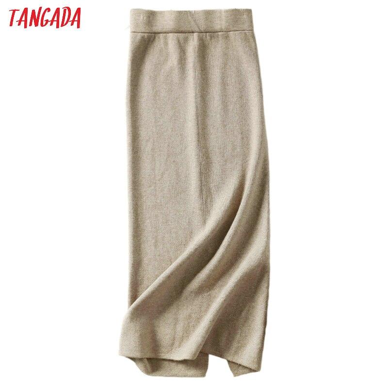 Tangada Women Solid Long Skirts Knit Stretch High Waist Korean Style Ladies Black Pencil Skirt Faldas Mujer Moda 2019 AQX05
