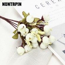 Silk-Peony Bride Bouquet Artificial-Flowers Fake-Plants Christmas Wedding New-Year-Decoration