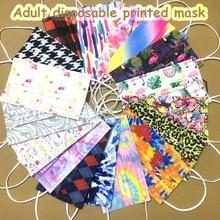 Máscara descartável de 50 pces não-tecido 3 camadas filtro de dobra respirável earloop impresso mascarillas máscaras de boca adulta multicolorido