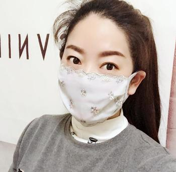 Women's spring summer flower embroidery thin cotton mask female summer sunscreen PM 2.5 breathable lace mouth-muffle R1088