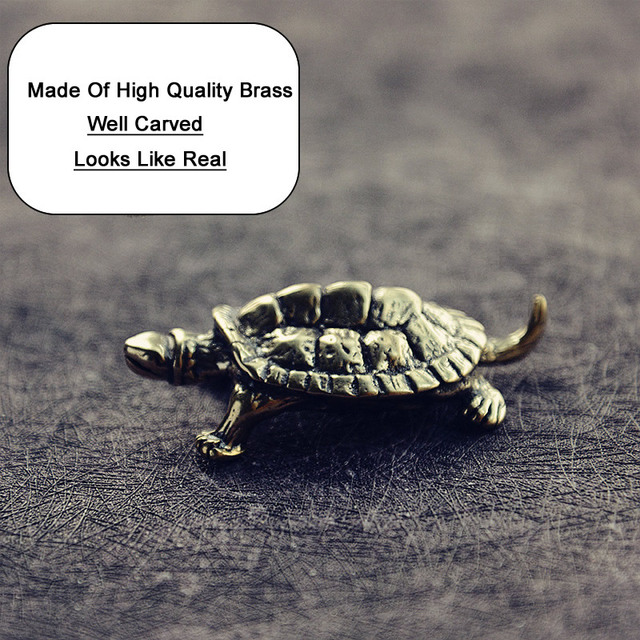 Mini Cute Brass Tortoise Vintage Turtle Statue Metal Figure Props Animal Sculpture Home Office Desk Decorative Ornament Toy Gift 4