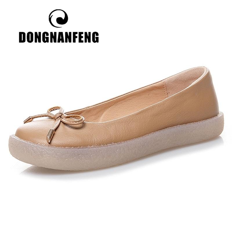 DONGNANFENG/женские белые туфли из натуральной кожи для мам и женщин; повседневные Нескользящие туфли на плоской подошве с бантом; большие размер...