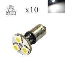10 sztuk BA9S LED 5050 3SMD 12V 6000K światła samochodowe białe małe światła w szerokim świetle miernika światła