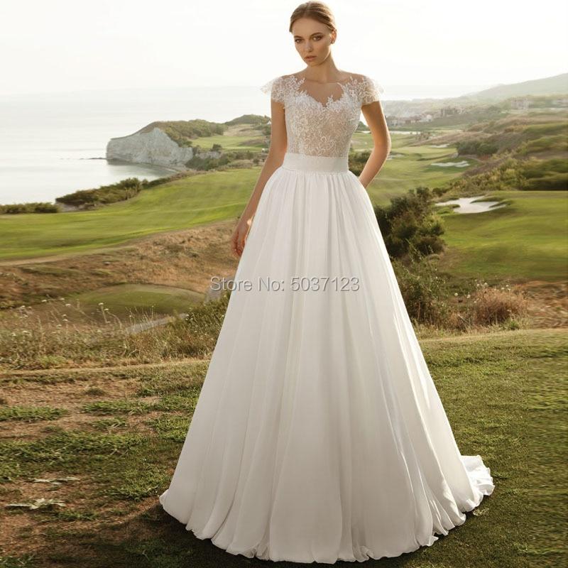 Chiffon Beach Wedding Dresses O Neck Short Sleeves A Line Floor Length Lace Appliques Button Boho Bridal Gowns Vestido De Noiva