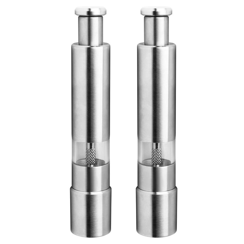 Salt and Pepper Mill Set  Stainless Steel Salt and Pepper Grinder Durable One Hand Operation Salt and Pepper Mill 2 Pack|Manual Coffee Grinders| |  - title=