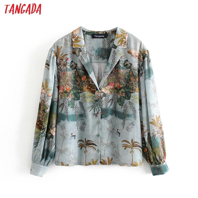 Tangada Women Retro Leaf Print Holiday Blouse Long Sleeve Chic Female Casual Loose Shirt Blusas Femininas 3H297