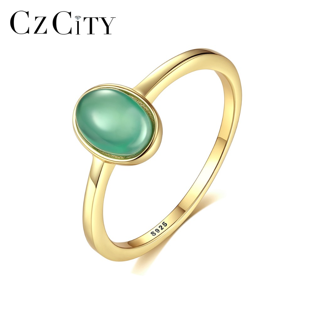 CZCITY Genuine 925 Silver Sterling Oval Emerald Rings For Women Temperamental Femme Gemstone Rings Fine Jewelry Anniversary Gift