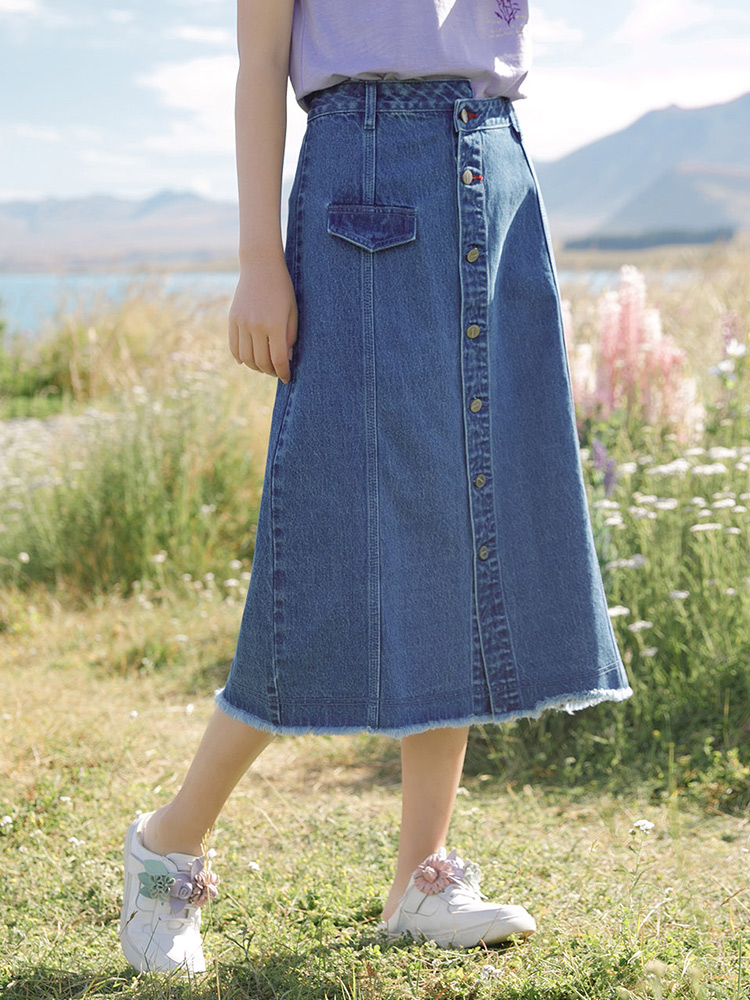 INMAN 2020 Summer New Arrival Buttons Personality Literary A-line Hemline Denim Skirts