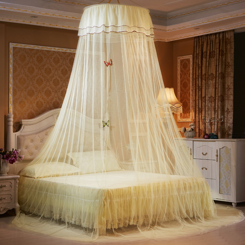Yellow 5 Colors Elegant Round Lace Insect Bed Canopy Netting Curtain Dome Mosquito Net New House Bedding Summer High Quality