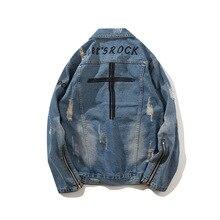 Харадзюку мода крест ретро рок винтаж синяя джинсовая куртка мужская панк толстовка sudadera отверстие уличная