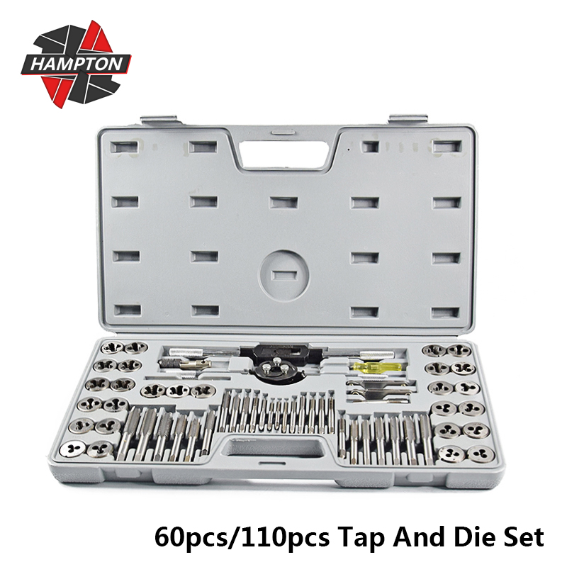 Hampton 60pcs Tap And Die Set Metric Thread Tap Right Hand Plug Taps Screw Tap Drill Bit Thread Wrench Die Threading Tool
