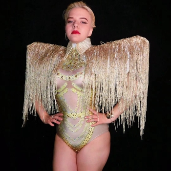 Gold Rhinestones Fringes Bodysuit 2 Pieces Set Dance Costume Women's Sexy Nightclub Bar Outfit Evening Stage Performance Wear