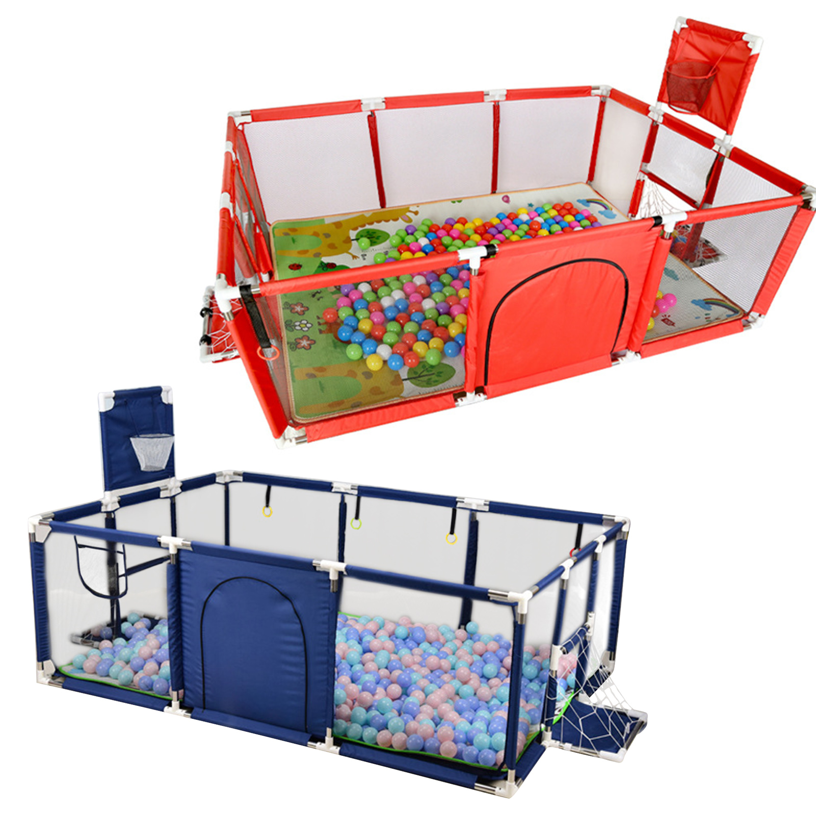 Kids Furniture Playpen With Basketball For Children Dry Ball Pool Safety Barriers Babys Playground Ball Park For 0-6 Years