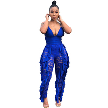 Rompers Women Jumpsuits Sexy V-neck Spaghetti Strap Lace Stitching Playsuits Elegant Ruffles Clothes Hollow Out Party Overalls
