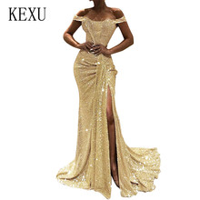 KEXU Off Shoulder Maxi Bodycon Sequin Dress Glitter Sequined High Split Women Strapless Party Sexy Dresses Plus Size 3XL