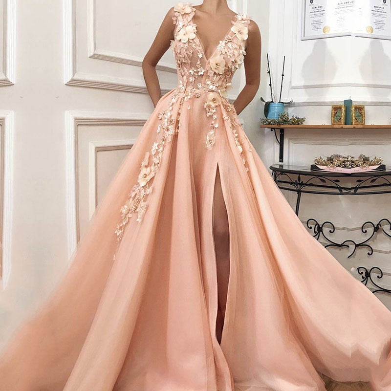 Pink Prom Dress Long V-Neck Appliques With Flowers Handmade Side Split Tulle Formal Evening Gowns Girl Party Dress Graduations