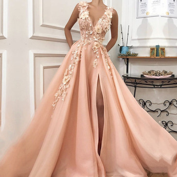 Pink Prom Dress Long V-Neck Appliques with Flowers Handmade Side Split Tulle Formal Evening Gowns Girl Party Graduations - discount item  48% OFF Special Occasion Dresses