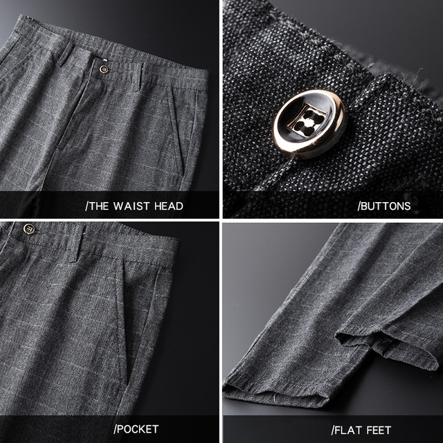Stretch Plaid Casual Pants Men Spring summer High Quality Business thin Plaid Brand Men's Straight Gray Trousers Pant 36