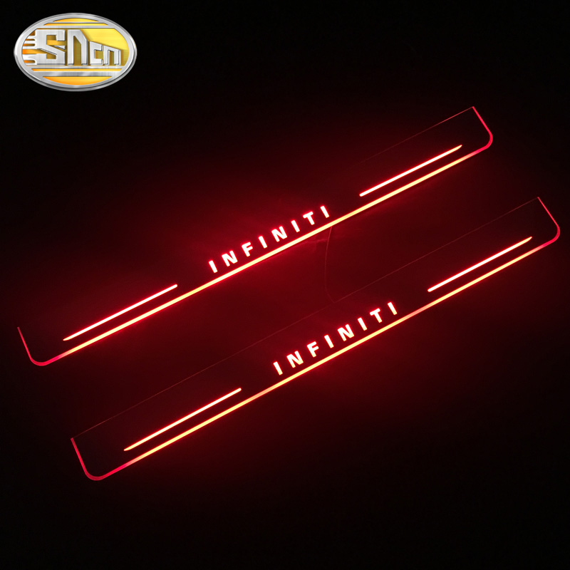 SNCN Waterproof Acrylic Moving LED Welcome Pedal Car Scuff Plate Pedal Door Sill For <font><b>Infiniti</b></font> Q50 <font><b>Q70</b></font> 2013 <font><b>2014</b></font> 2015 image