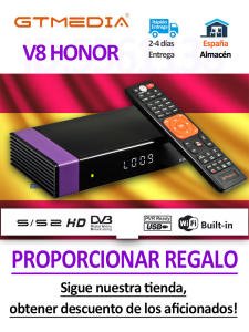 Recepter Gt Media HONOR V8 Nova Freesat V9 Super-No-App DVB-S2 H.265 1080P Built-In-Wifi